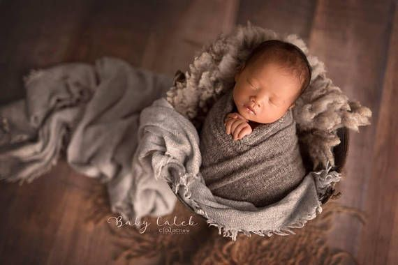 Photo of Baby Boy Newborn Photography Prop Wraps, Gray Swaddling Wrap, Newborn Props, Str…