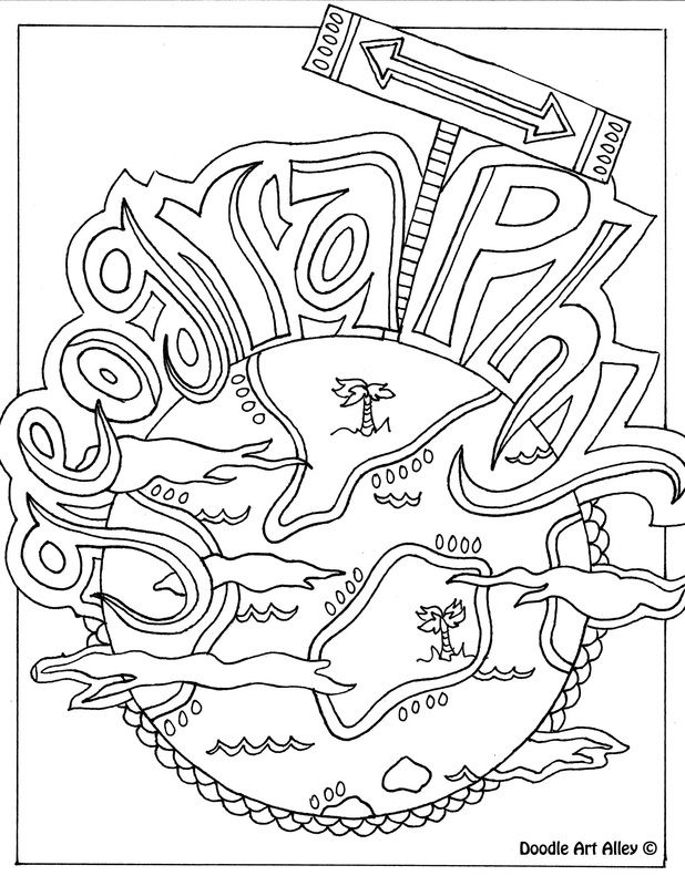 Geography Themed Coloring Page Could Be Used As A Binder Cover