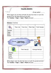 English worksheet falling objects gravity air