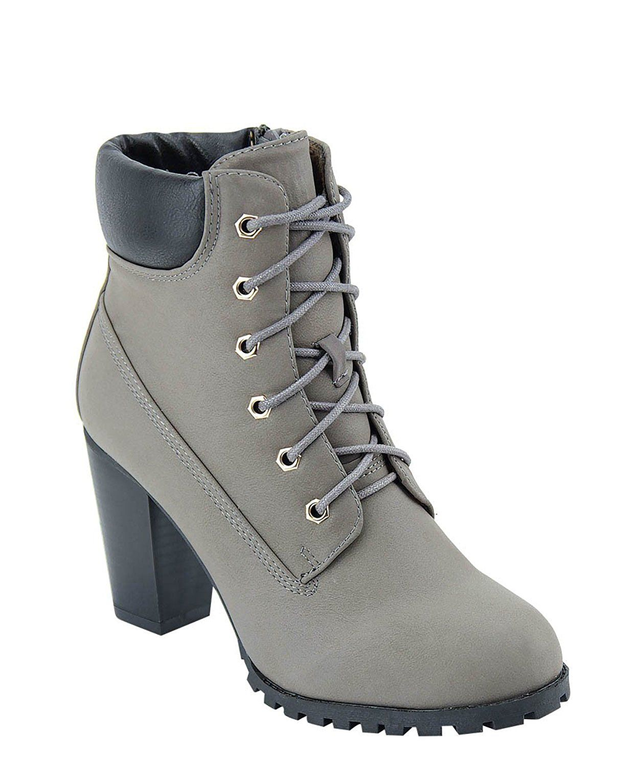 91dcd594f8b0 FW17 Fashion Boot Womens Rugged Lace Up Stacked High Heel Ankle Boots