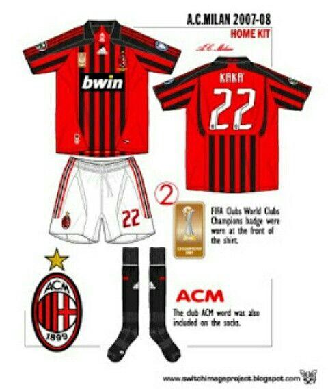 Ac Milan Home Kit For 2007 08 Ac Milan Milan Football