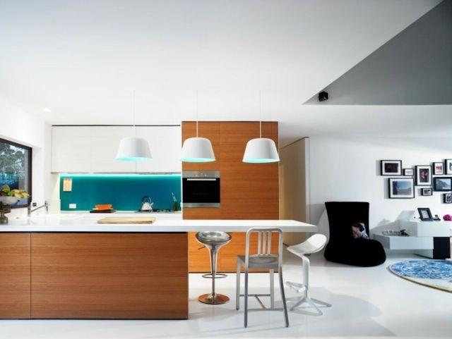 moderne Küche Led Leuchte eingebaut Holz Küchenfronten Küchen - modern küche design