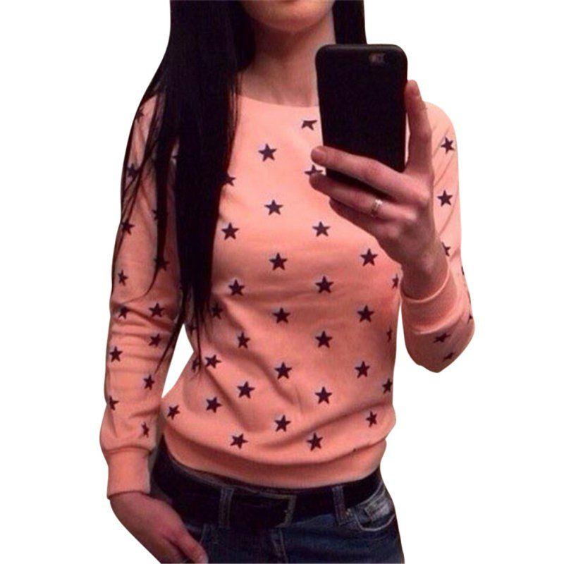 여성 소프트 긴 소매 스타 인쇄 Sweatershirt 풀오버 까마귀 스웨터 점퍼 탑