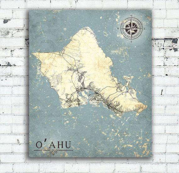 OAHU Island HI Canvas Print OAhu Hawaii Vintage Map Oahu Hawaii Hi - Oversized map prints
