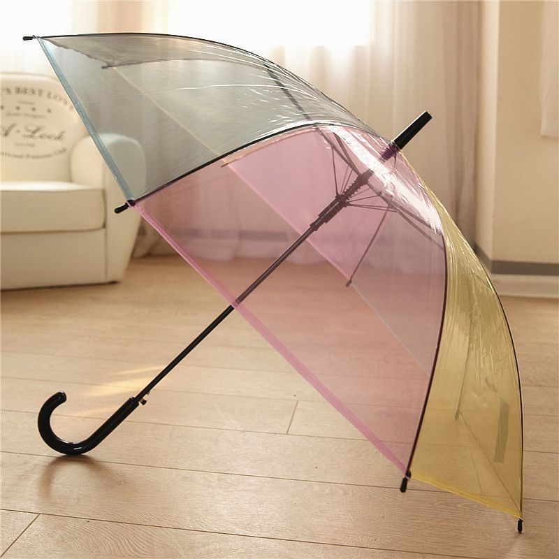 """Large 31/"""" Clear See Through Dome Umbrella Ladies Transparent Walking Brolly Lot"""