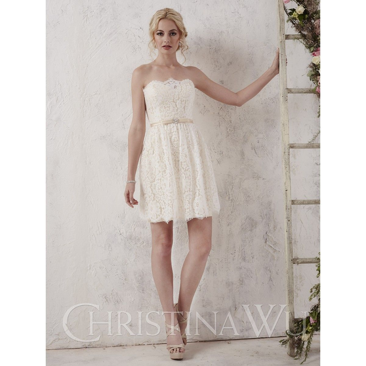 Christina wu occasions style short lace and satin dress with