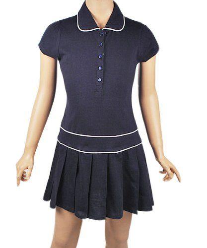 a53bc1cf441fa8 U.S. Polo School Uniform Girls 7-16 Button Front Knit Dress, Navy, 10/12  U.S. Polo School Uniform,(Hailey)