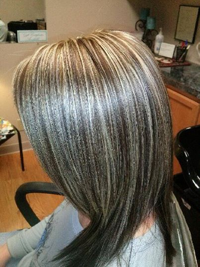 Pix For > Gray Highlights In Brown Hair | My Style | Pinterest ...