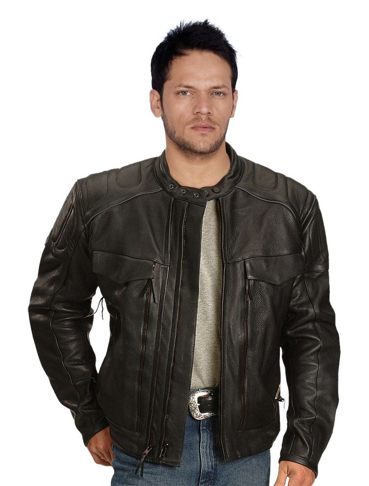 Zipper Gusset Leather Biker Jacket For Men | Leather Biker Jackets ...
