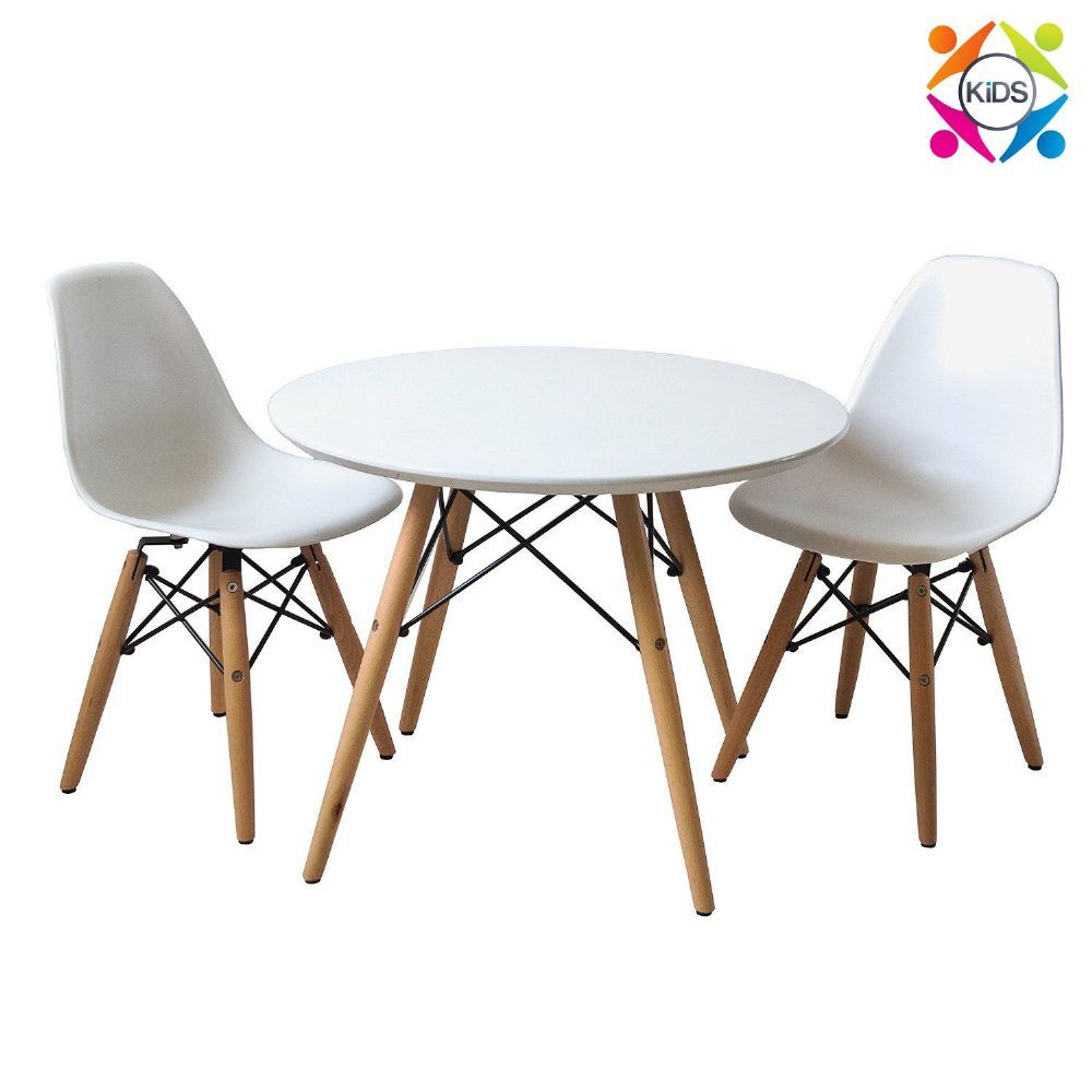Little eames childrens table and chairs set inspired by charles style mid century modern playroom bedroom nursery kitchen chair with wood dowel legs base mid century modern childrens round kid toddler table chairs workwithnaturefo