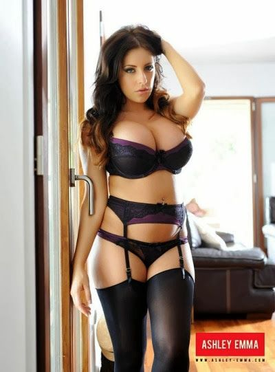 Ashley Emma In Holdup Stockings Bra