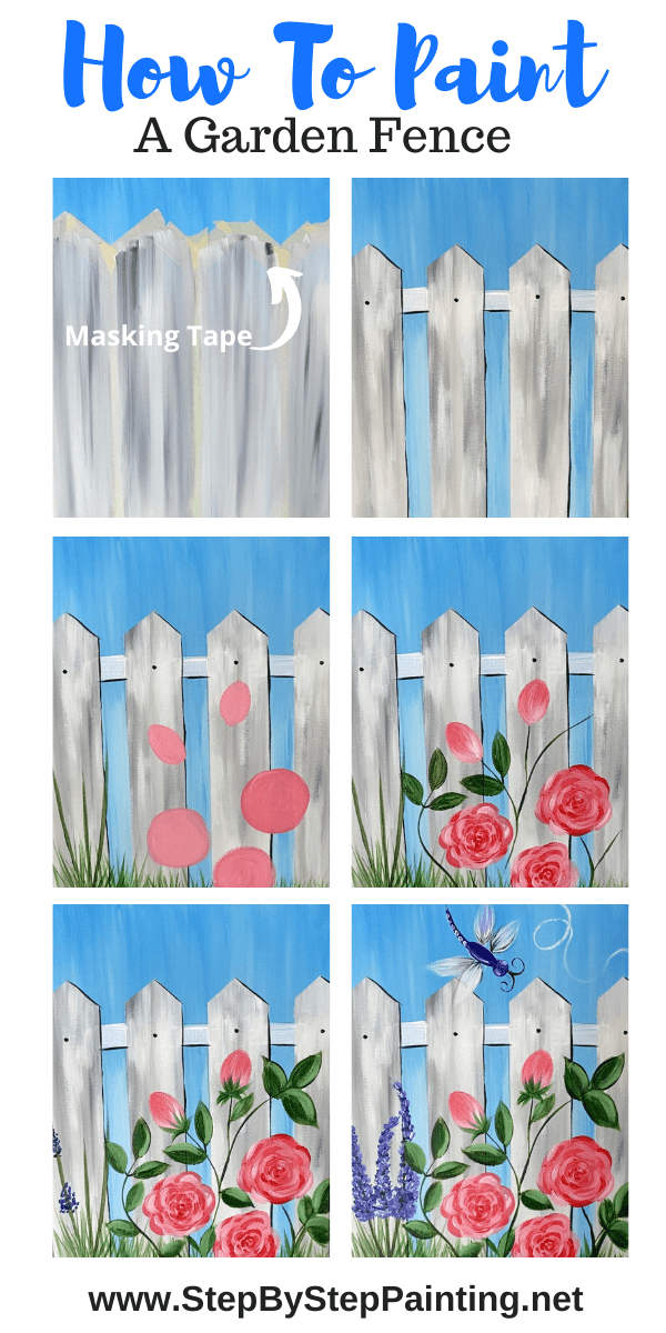 Garden Fence Painting On Canvas – Step By Step With Pictures and Video