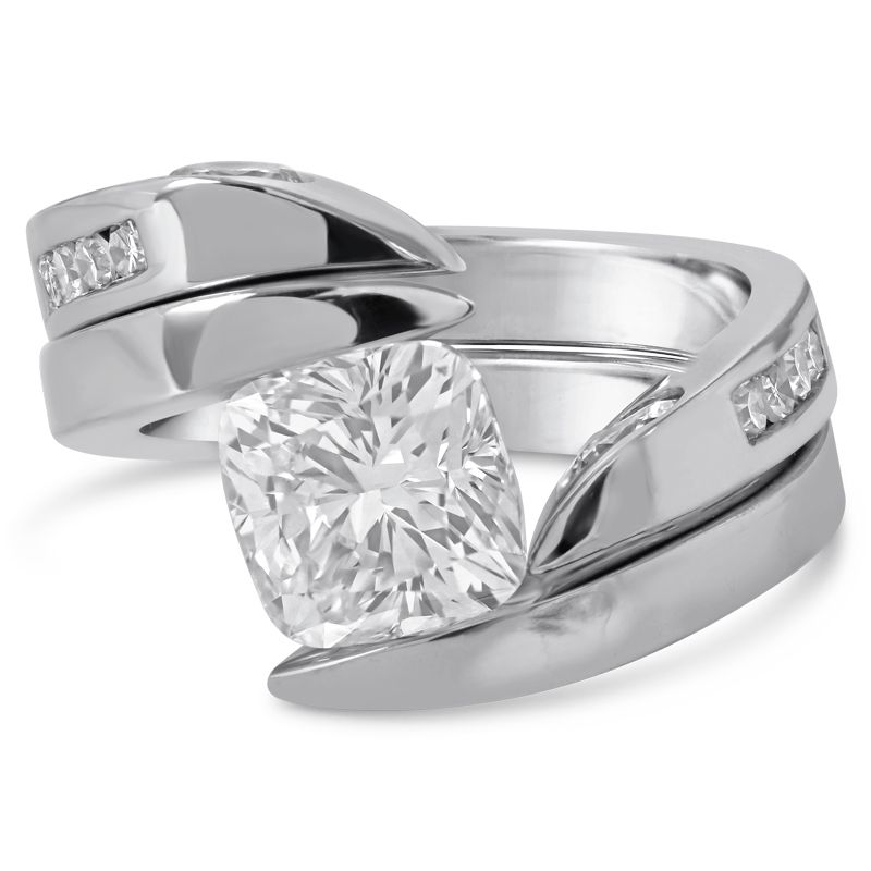 2 00ct Cushion Cut Diamond Tension Set Solitaire Engagement Ring With Matching Wedding Band Tc7014