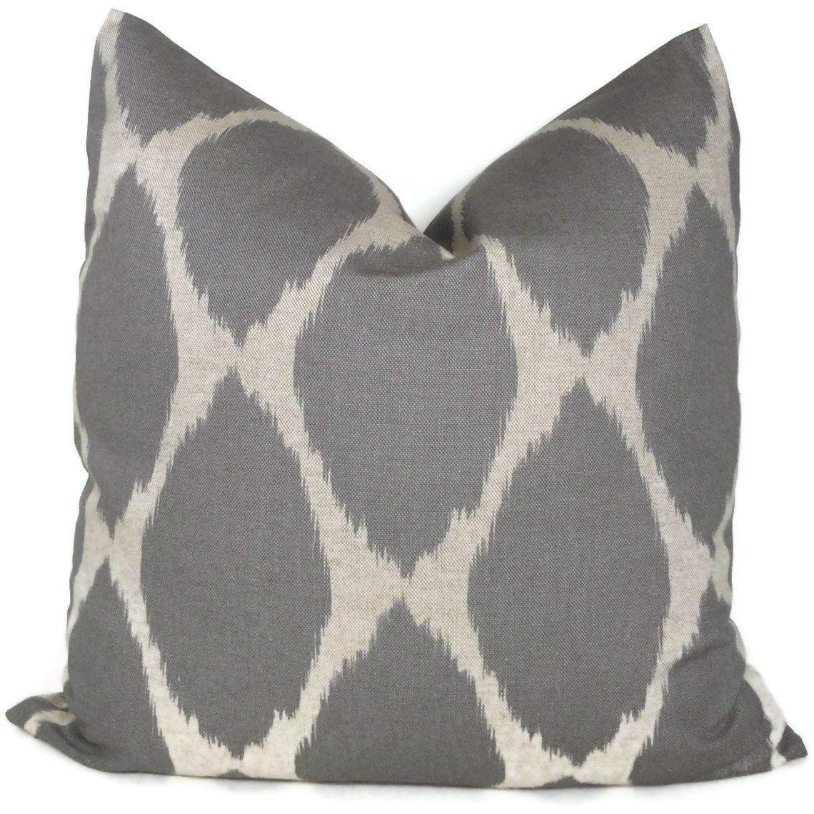 west elm gray ikat decorative pillow cover lumbar pillow accent pillow throw pillow toss. Black Bedroom Furniture Sets. Home Design Ideas
