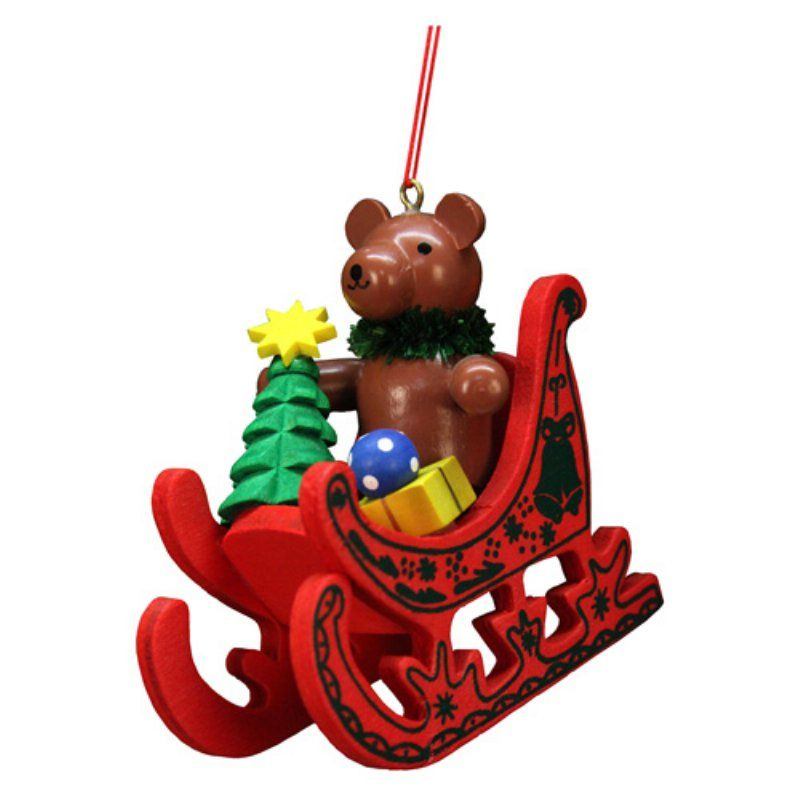 Christian Ulbricht Teddy Sled Ornament - 10-0576