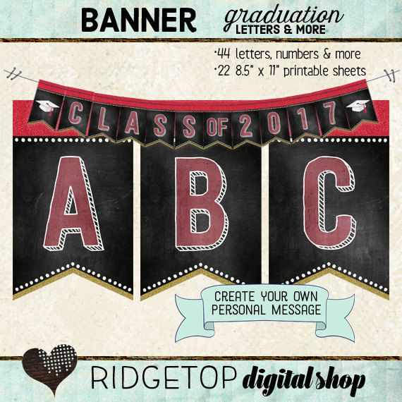 graduation banner letters numbers