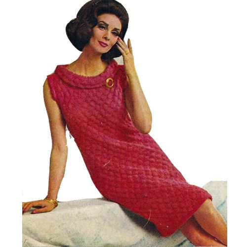 Knit Cowl Collar Dress Pattern Small Medium.   This is a lovely dress, perfect for summer events or special occasions.   A straight dress with a textural pattern stitch.  It has a lowered round neckline with a small cowl collar.   The design is sleeveless and knee length.