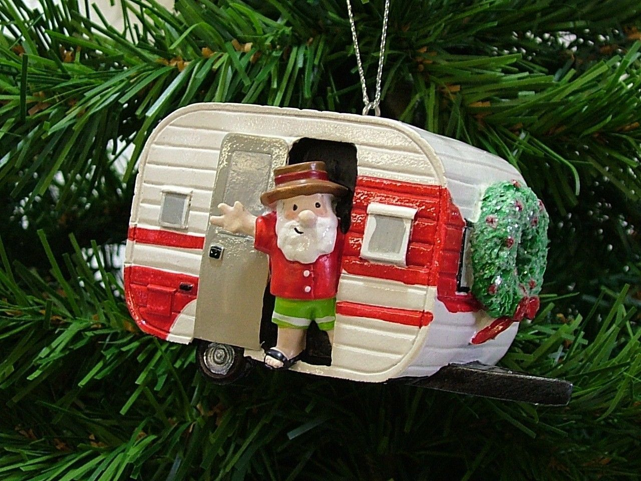 Camping christmas tree ornaments - New Red White Vintage Outdoor Trailer Santa Camper Christmas Tree Ornament