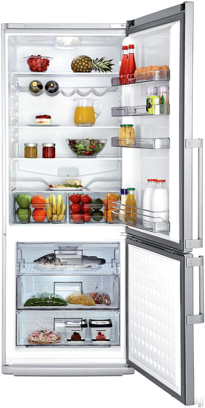 Blomberg Brfb1452ssn 28 Inch Counter Depth Bottom Freezer Refrigerator With 3 Glass Shelves 2 Produce Drawers Antibacterial Interior Reversible Door And Ener Bottom Freezer Refrigerator Bottom Freezer Glass Shelves