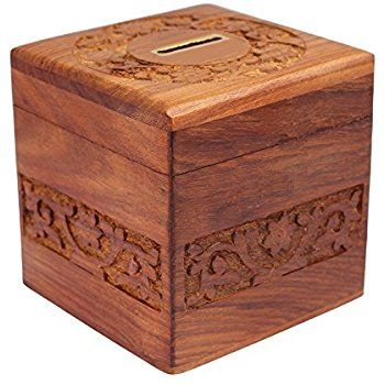Solid Wood Hand Carved Money Box With Secret Lock 4 X 4 X4 Inches