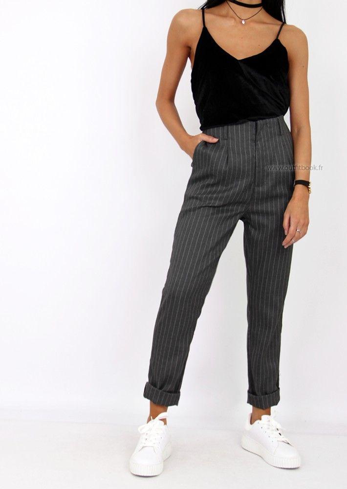 28d53d48e143a Pantalon rayé gris | Ootd 2017 | Pinterest | Pantalon rayé ...