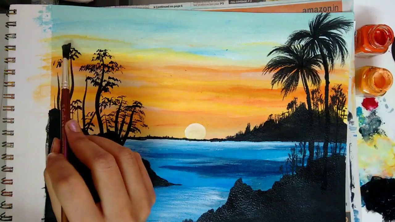 How To Paint A Beautiful Scenery Painting Sunrise Acrylic Landscape Painting Beautiful Scenery Paintings Beautiful Landscape Paintings Scenery Paintings