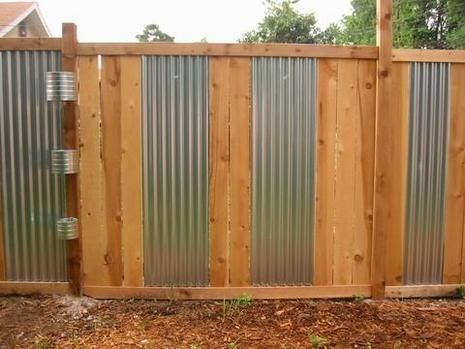 Wood And Corrugated Metal Fence Fence Design Corrugated Metal Fence Front Yard Fence