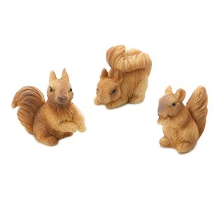 Miniature Dollhouse FAIRY GARDEN Accessories ~ Set of 3 Mini Resin Squirrels NEW