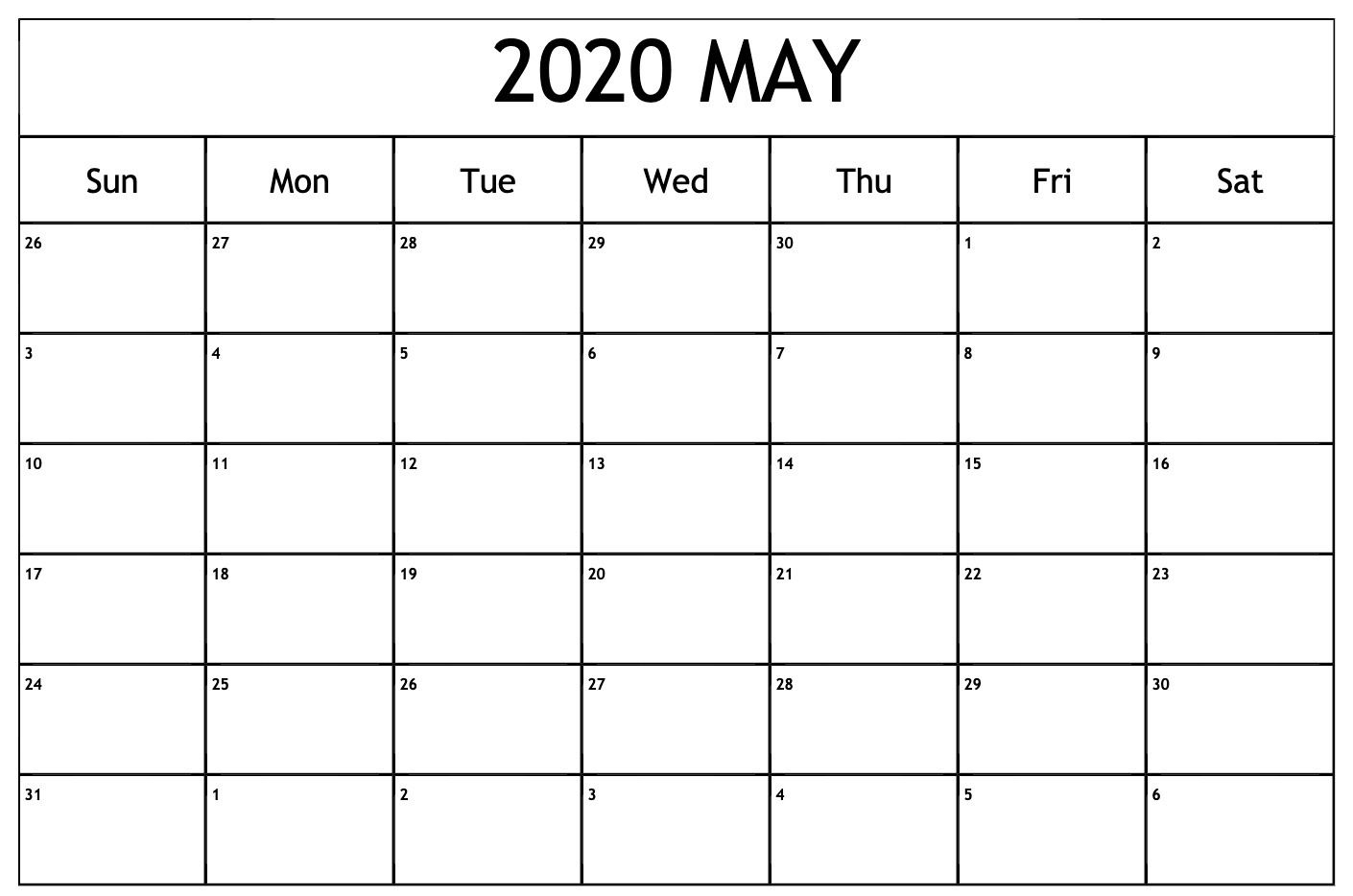 May 2020 Calendar Pdf Word Excel Printable Template Free