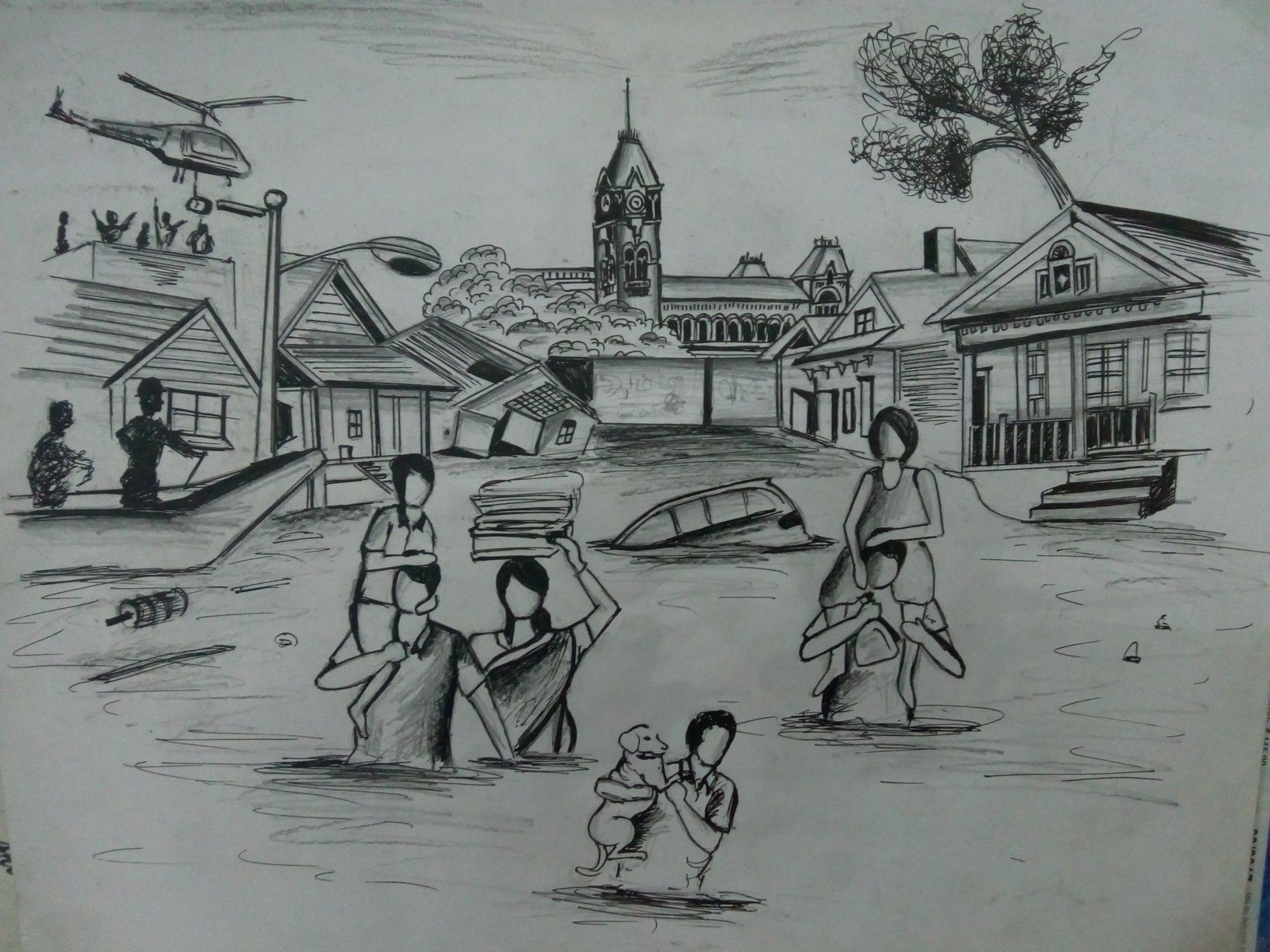Chennai flood pencil sketches