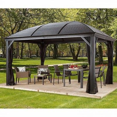 10 X 14 Hardtop Gazebo Metal Steel Aluminum Roof Post Outdoor For Patio Sofa Set Http Www Ebay Com Itm 172522764442 Gazebo Hardtop Gazebo Gazebo Sale