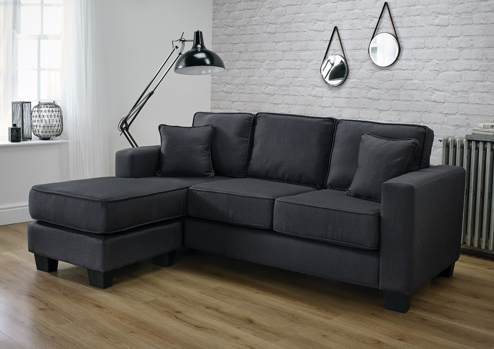 Soho Modern Corner L Shape Fabric Sofa In Slate Grey Fabric Sofa Sofa Corner Sofa