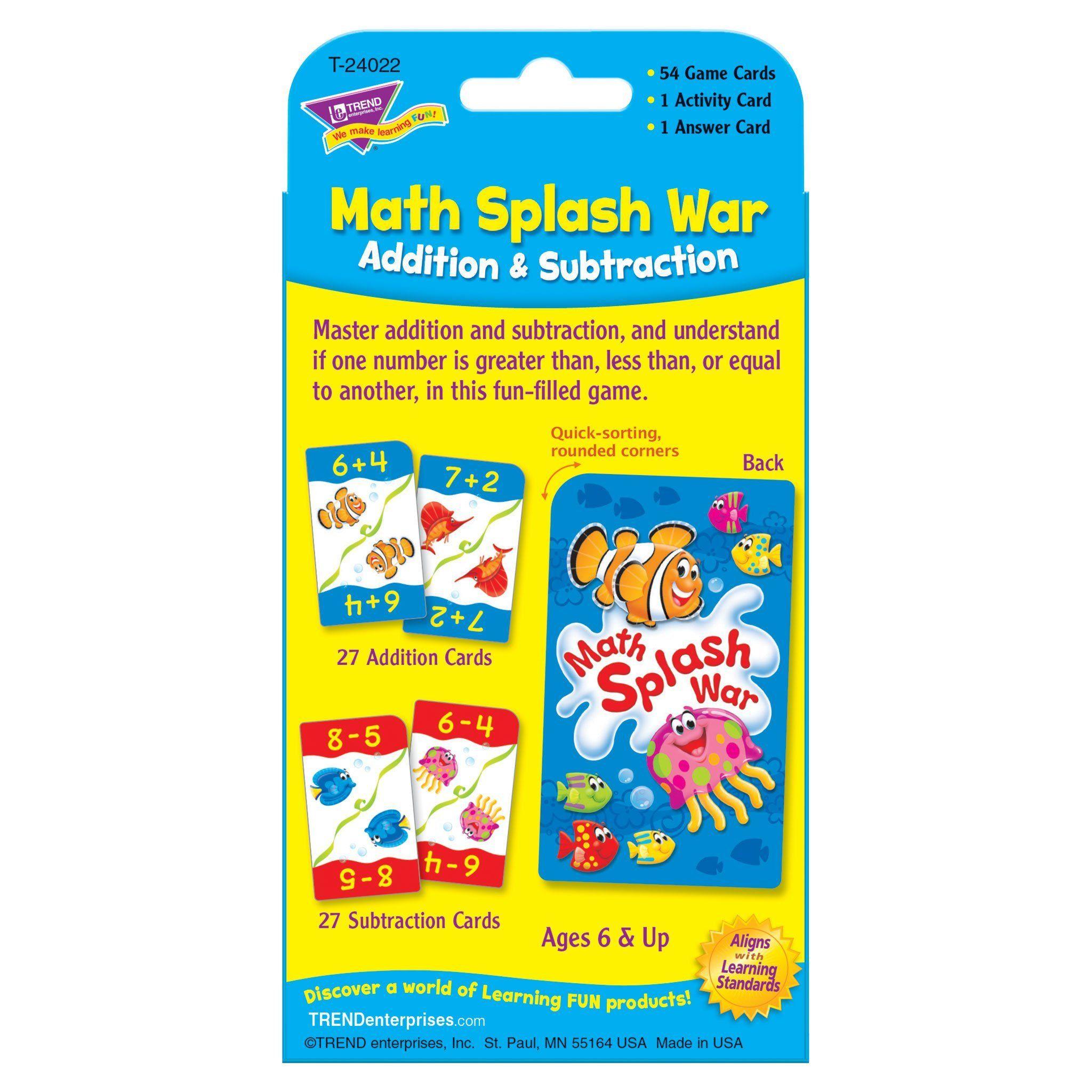 Math Splash War Addition Subtraction Challenge Cards In 2021 Addition And Subtraction Subtraction Subtraction Facts Math war addition and subtraction game