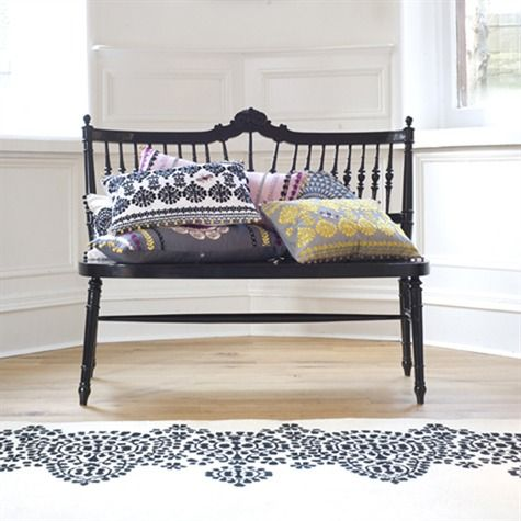 saving $ on furniture: painted bench with decorative pillows