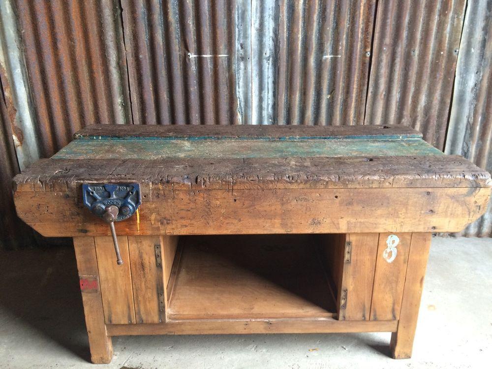 Rustic Wooden Vintage Old School Workbench Industrial Chic