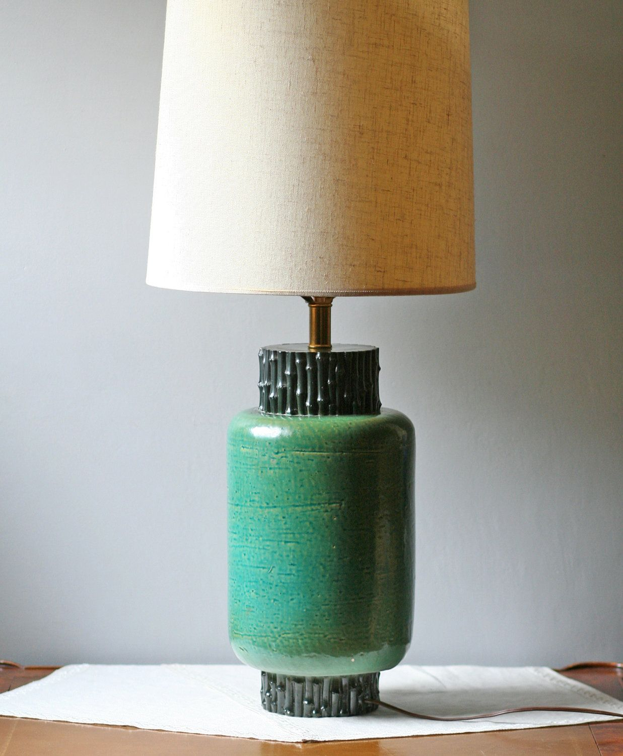 Emerald green table lamp - Emerald Green Pottery Table Lamp 110 00 Via Etsy