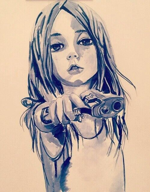 446ad39ca Drawing of a Girl holding a gun art | Girls are Guns in 2019 | Art ...