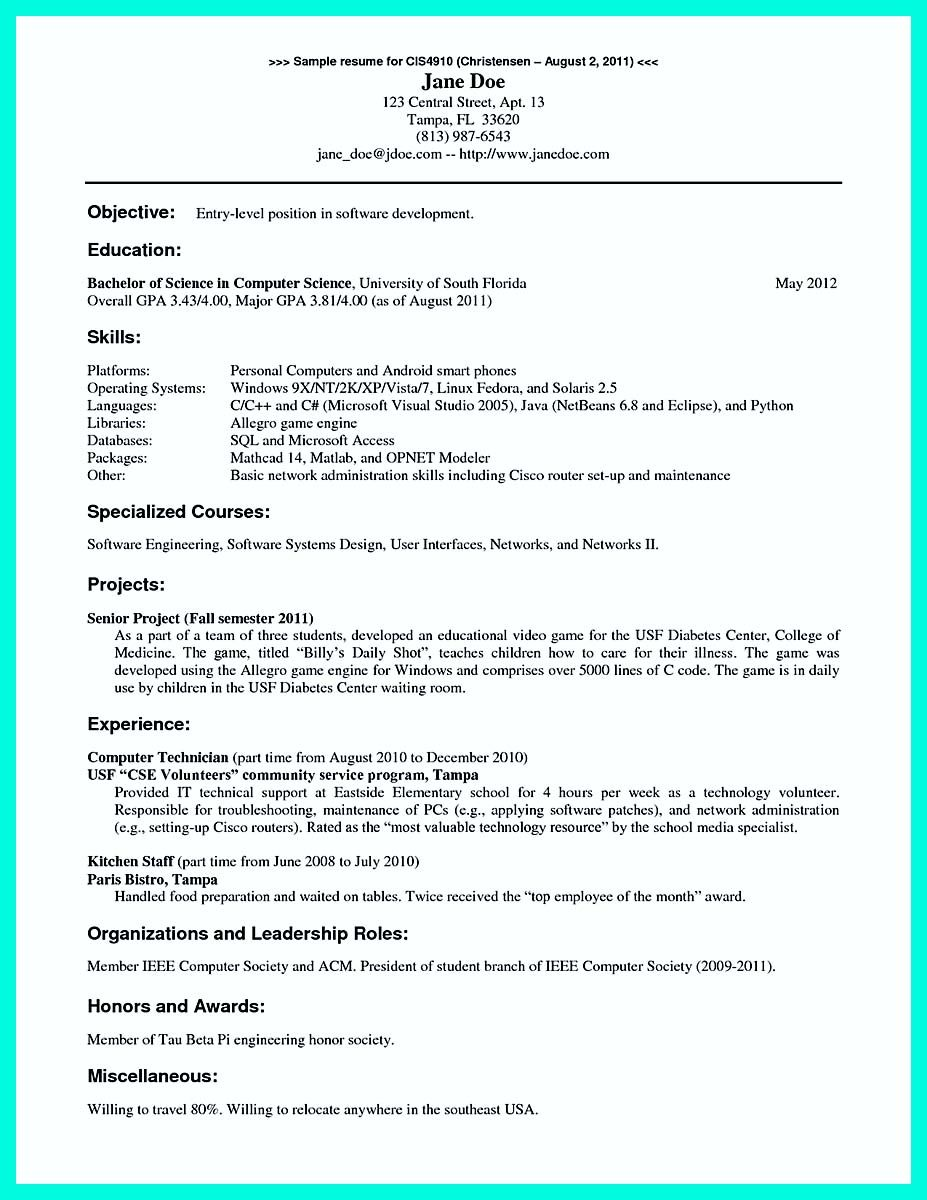 Computer Science Student Resume Nice The Best Computer Science Resume Sample Collection Check