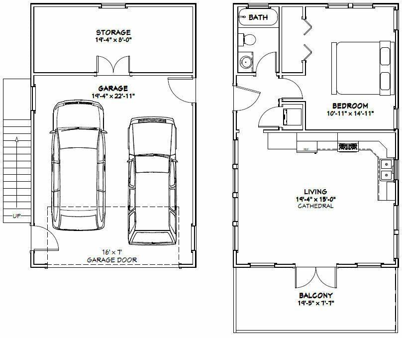 20x32 House -- 1 Bedroom -- 4:12 Roof Pitch -- PDF Floor