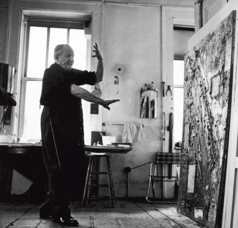 Hans Hoffman in his studio 1957 NYC