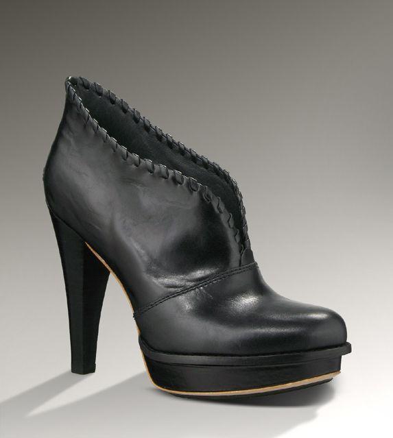 37ba6bda4997 UGG SHOES JAMISON BOOTIE BLACK LEATHER SLIP ON PLATFORM ANKLE BOOTS 9.5  1001318 Ugg Boots Sale