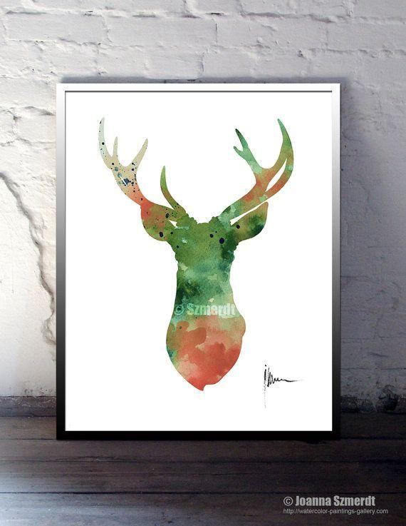 Hirsch Hörner Illustration, tierischen Aquarell Kunstdruck große ...