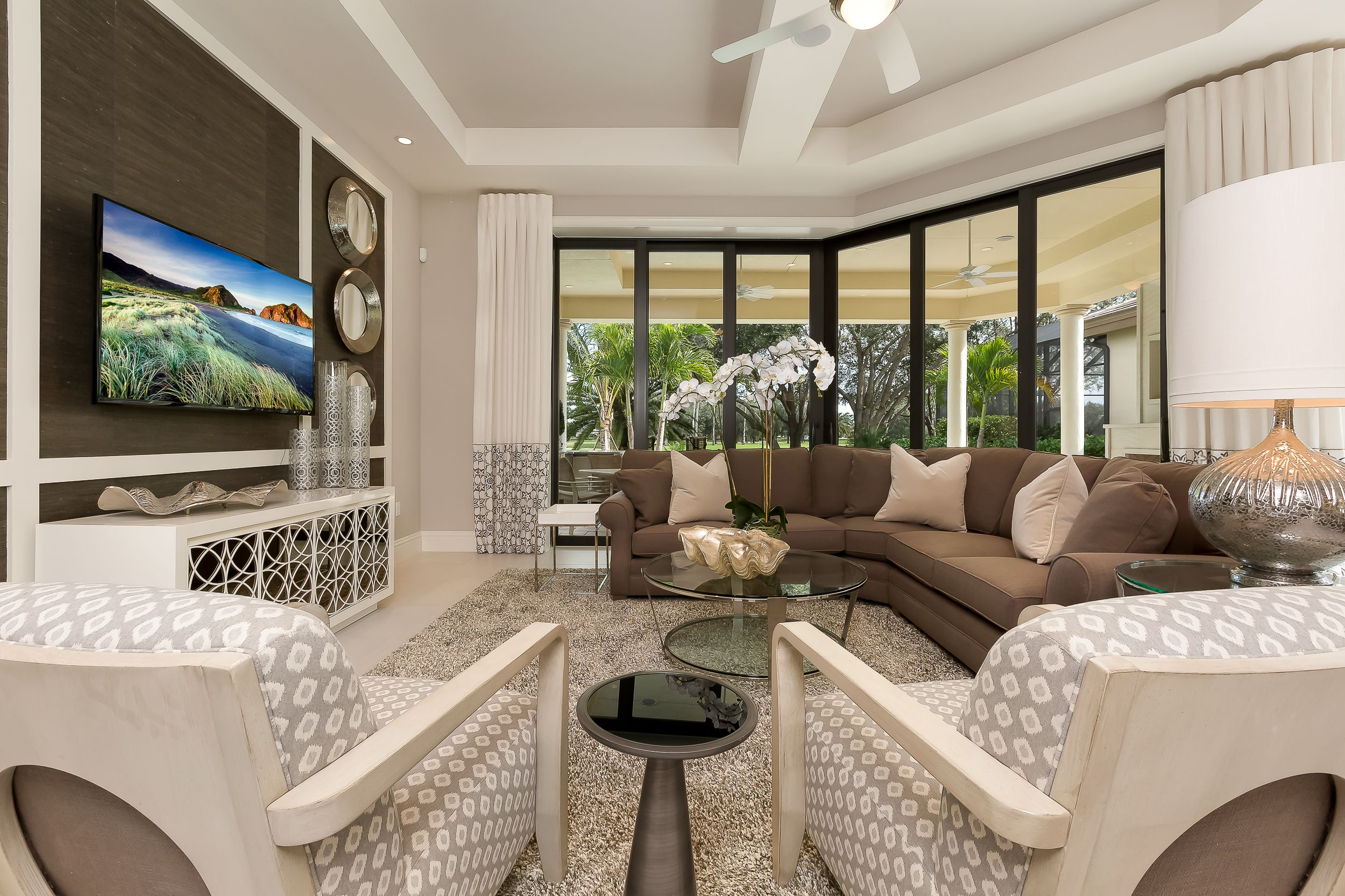 Frenchinspired living room Cipriani model home at Quail West by