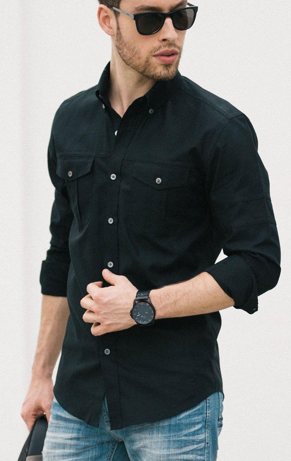 Batch Editor Men S Button Down Shirt In Jet Black Black Shirt Outfit Men Shirt Outfit Men Black Shirt Outfits [ 1494 x 946 Pixel ]