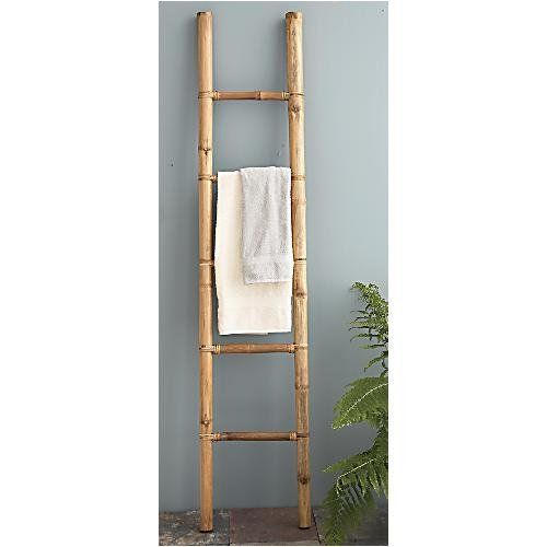 Great Look For The Bathroom Or Outdoor Shower Ladder Towel Racks Bamboo Ladders Bamboo Towels