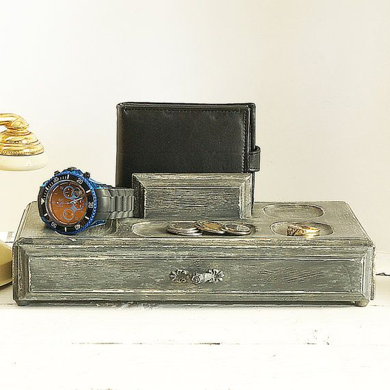 Shabby chic jewelry box for men wooden jewelry box vintage