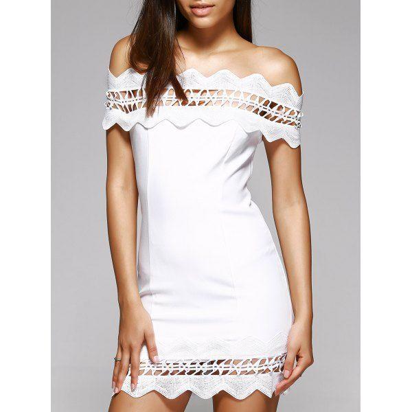 02aa1d2ebe4a Attractive Women s Off-The-Shoulder White Crochet-Trim Mini Dress — 20.03 €