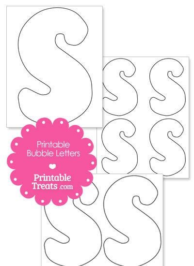 Printable Bubble Letter S Template From Printabletreats Com Shapes