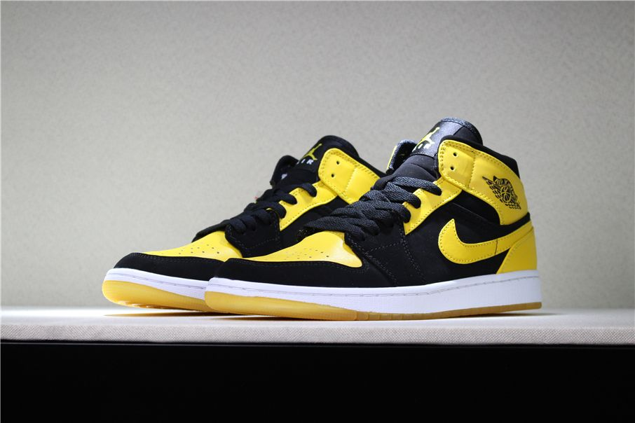 "New Air Jordan 1 Mid ""New Love"" Black Varsity Maize-White 554724-035 ... d1596a7d1"