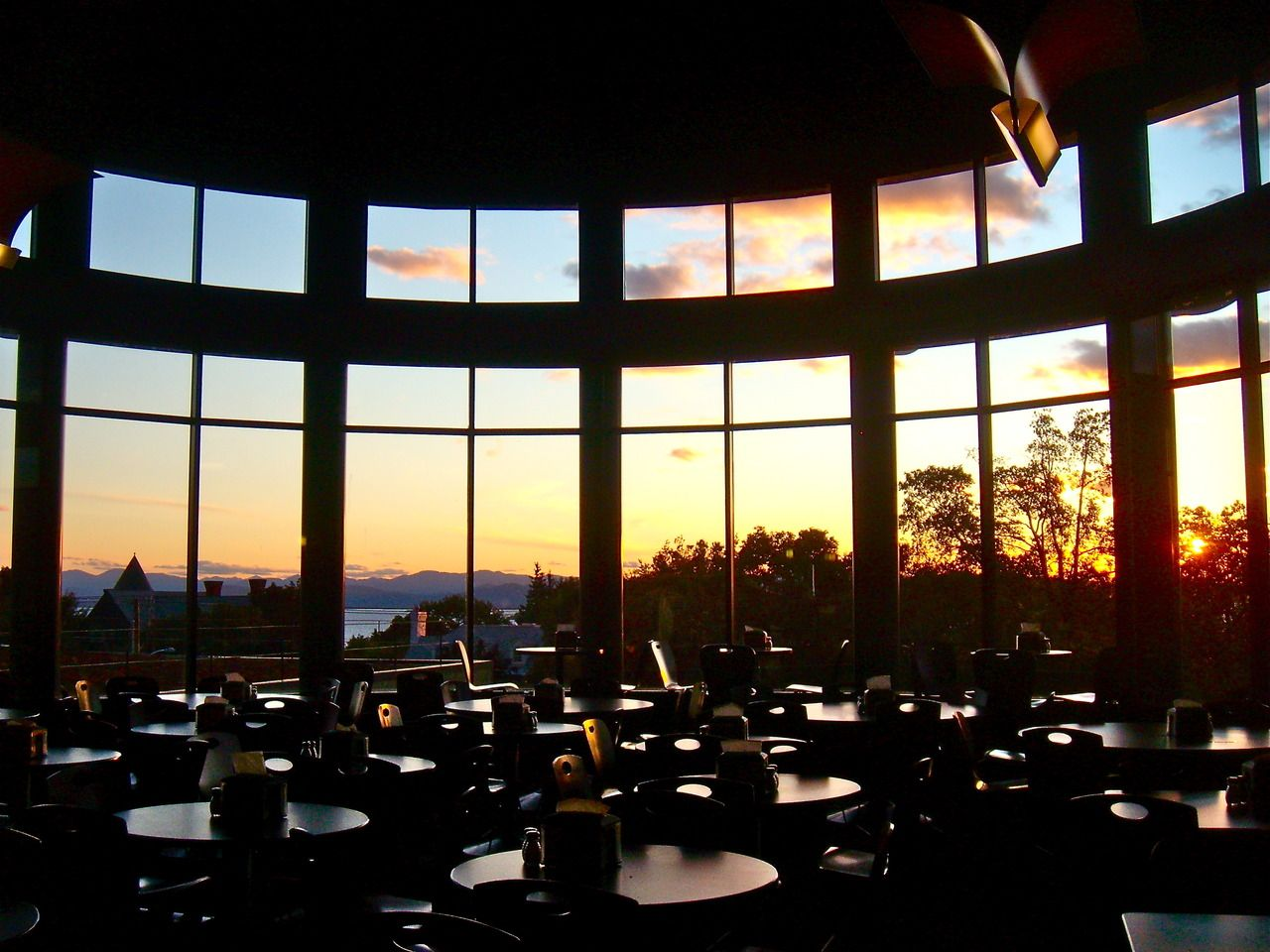 Champlain College IDX Dining Hall. The view over Lake